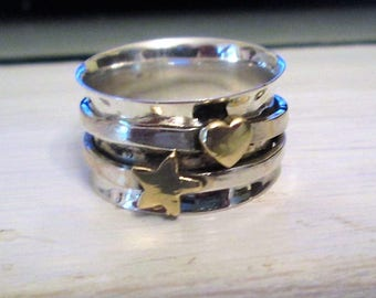 RING  - Heart - Star - SPINNING -  spinner  - HAMMERED- Two Tone - 925 - Sterling Silver - Size 7   spinner232