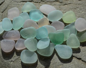 Genuine Sea Glass, Beach Glass, Bulk Real Seaglass Jewelry Supply, Pastel Mix