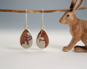 Owyhee Jasper Earrings, Oregon Picture Jasper, Sterling Silver, 14kt Gold, Handmade