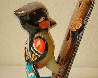 Vintage Tin Litho Toy Woodpecker Wind Up Made in China with Original Box