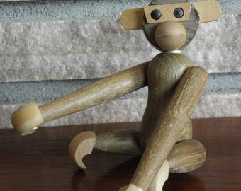 Vintage Mid Century Wooden Monkey