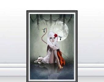 Gothic Fantasy Art - Gothic Art Print - A3 Art Print - Large Print - Goth Girl & Violin - Wall Decor - Dream In Motion