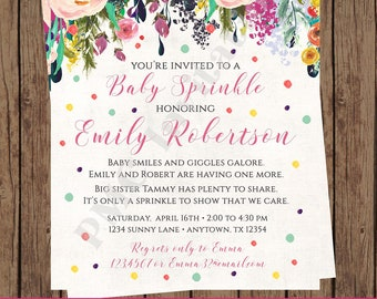 Watercolor Rose Floral Girl Baby Sprinkle Shower Invitation, Beautiful Watercolor Roses Flowers Floral 1.00 each with envelope