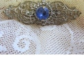 Antique Blue And Silver Canetille Style Filigree Brooch-Early 1900's