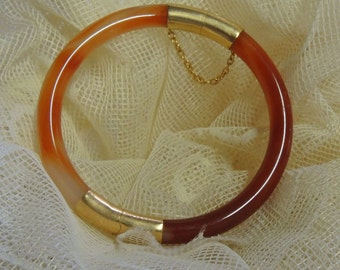 Vintage Carnelian Bangle Bracelet With Safety Chain Closure
