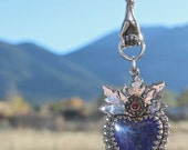Reserved for Laura******Lapis Lazuli Heart and Hand Milagros Necklace*******