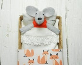 Felt mouse mice in matchbox plush doll fox birthday daughter gift kids gift stuffed animal mouse miniature