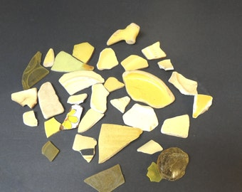 Lot Of 32 Pieces Of Yellow Sea Pottery With A Few Pieces Of Yellow Sea Glass Various Shapes Sizes From CA Beach Ocean Tumbled OOAK