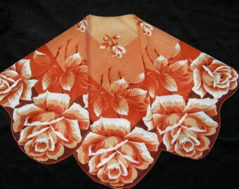 "Vintage 16"" Scalloped Fall Autumn Giant Roses Floral Wedding Favor, Craft Handkerchief - 9790"
