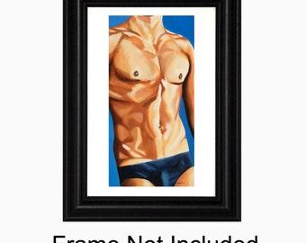 Art Print, Figure Painting, Bare Chest, gay Figure Art, Male Nude, Figurative Wall Art, Bedroom Art, Sensual Art, Nude Male | 8x10 | Mmmmm