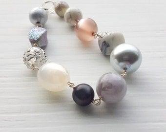 daydream bracelet - vintage lucite - winter bracelet - muted colors - silver lavender