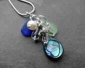 Abalone Shell Blue Sea Glass Necklace Sterling Pendant Beach Jewelry