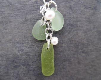 Green Sea Glass Necklace Beach Seaglass Jewelry Pendant