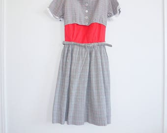 Vintage Plaid Belted Girl's Dress