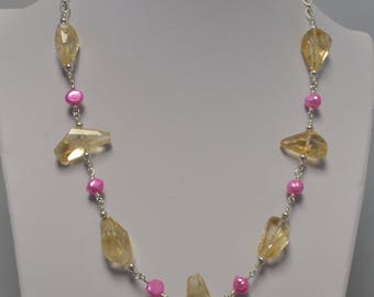 Citrine and Freshwater Pearl Necklace with Matching Earrings