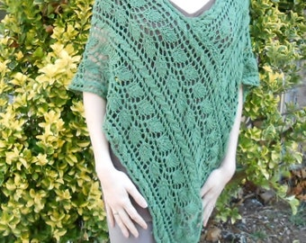 knit lace poncho, lace leaf shawl, womens V-neck sweater, silk, merino cape, pullover, green bohemian cape, #EtsyCIJ 2017,  gift for her