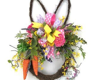 Bunny Head Wreath, Easter Bunny Door Hanger, Easter Wreath for Door, Easter Bunny Wreath, Easter Door Decor, Easter Front Door Wreath