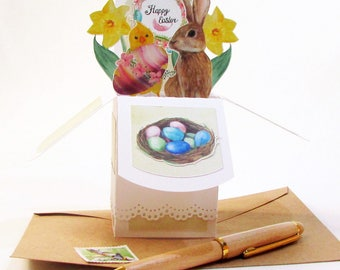 Easter Pop Up Greeting Card - Happy Easter Card - Easter Watercolor Card - Bunny Card - Gift Card Holder - Easter Gift - Easter Decor