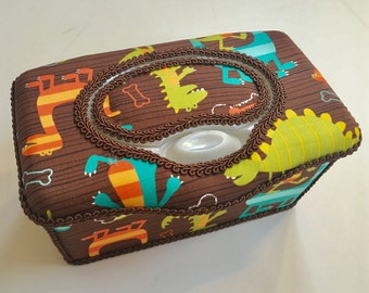 SALE - Boutique Flip Top Baby Wipe Tub - Dino Dudes Covered Nursery Wipes Box