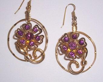 Upcycled Purple Rhinestone Earrings - Pierced