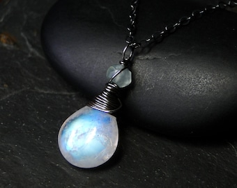 Moonstone Necklace with Chalcedony on Oxidized Sterling Silver - Seafoam Moon by CircesHouse on Etsy