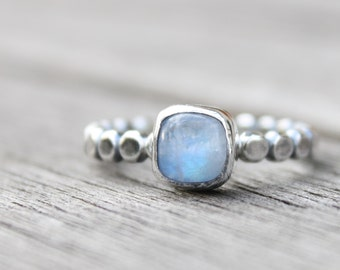 Moonstone Sterling Silver Ring - Semiprecious Moonstone - Handmade Moonstone Ring