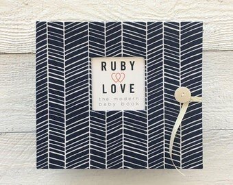 Navy Herringbone Stripe | BABY BOOK