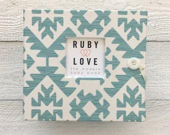 BABY BOOK   Teal Pawnee Tribal Baby Book   Ruby Love Modern Baby Memory Book