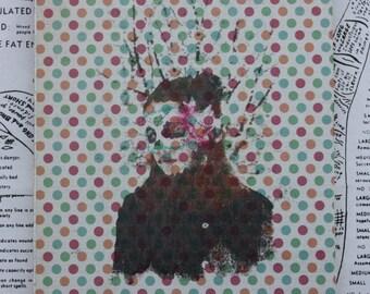 Girl, Incognito, Original Miniature Art, 5 x 6 , Mask, Tree Branches, Girl, Polka Dots