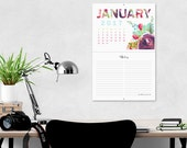 Calendar, 2017 floral wall calendar, colorful wall calendar, watercolor florals, Good Frau calendar designs, hanging calendar