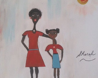 Mother and daughter,Afrikaans art,african woman art,childs art,african American art,childs painting,girls art,girls paintings