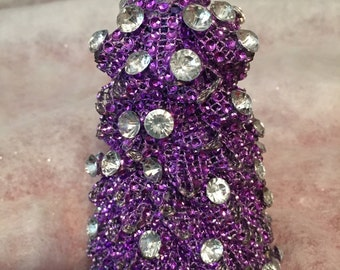 fABULOUS  mESH  bLING  pURPLE  CHRISTMAS  TREE   bLING pIECES  aDDED  fOR  oRNAMENTS