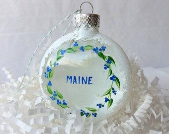 Maine Blueberry Christmas Glass Ornament