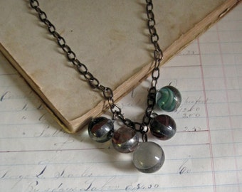 Vintage Glass Marble Necklace One of a Kind Jewelry