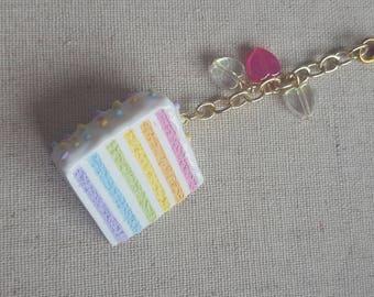 Rainbow Layer Cake Polymer Clay Charm - planner charm / pastel rainbow charm