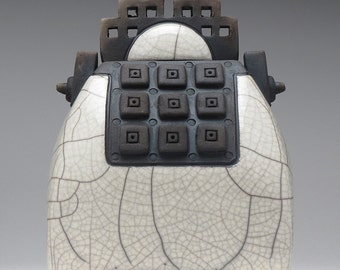 Ceramic sculptural art vessel, Raku  Vessel,handmade,home decor,neutral white