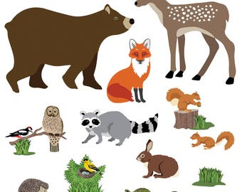 Large Woodland Animal Wall Decals, Removable and Reusable Eco-Friendly Wall Stickers