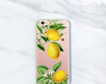 Clear iPhone 7, Plus Case Lemons, iPhone 6S, SE, 5S, Botanical, Gift for Her, Women, Sister, Wife, Mom