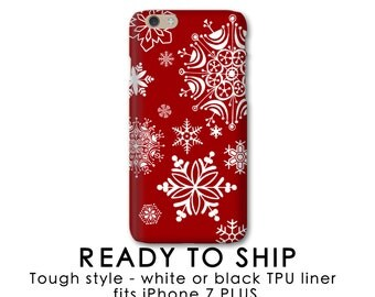 iPhone 7 Plus Case Tough Style, Snowflakes on Red - Ready to Ship