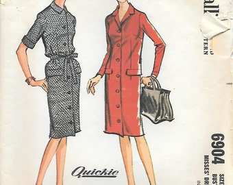 McCalls 6904 1960s Front Buttoned Dress with Convertible Neckline Vintage Sewing Pattern Size 14 Bust 34