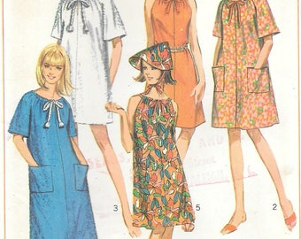 Simplicity 7138 1960s Jiffy Pool Coverup Sun Dress and Hat Vintage Sewing Pattern Small Size 10-12