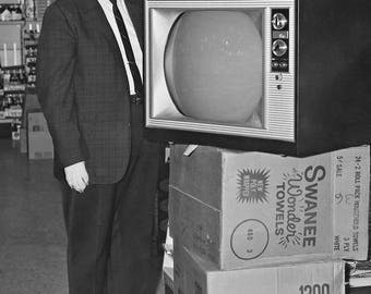Color TV Winner — 1966 , large original photograph of white Boxer dog who won a color TV in a drawing in 1966