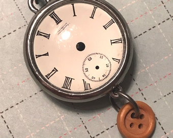 Double sided STEAMPUNK POCKET WATCH Pendant, steampunk clock, pocket watch