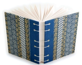 Gold and Blue Lay Flat Journal, Gorgeous Japanese Paper, great gift for a paper lover