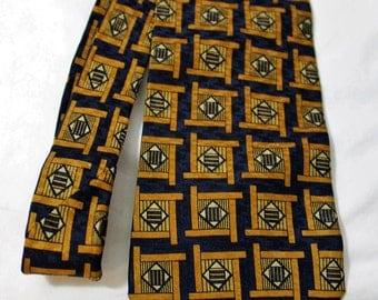 Vintage Z Inc. 4 Inch Wide Silk Necktie, Navy Blue & Bronze