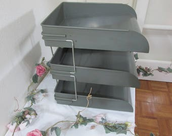 Industrial Metal Tray Shelf Office Filing 3 Trays