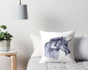 Faerie & Unicorn Cushion Cover, Fantasy Art Drawing Fairy Fae Friends Throw Pillow, Black and White Pencil Drawing, Illustrated Cushion