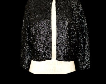 Original vintage 1950s Black Sequin Cardigan Jacket - Medium - FREE SHIPPING WORLDWIDE