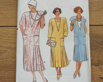 vintage 80s vogue pattern 9211 misses loose fitting pullover dress 20s look sz 8  uncut