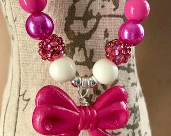 Pink magenta hot pink rhiestones cream 12 mm bubble gum beads children's necklaces chunk jewelry birthdays photoshoots